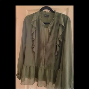 Sheer Army Green Blouse